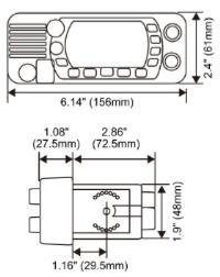 Standard Horizon Eclipse GX1400GPS/E VHF Dimensions